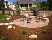 Patio with Fire Pit and Mulch